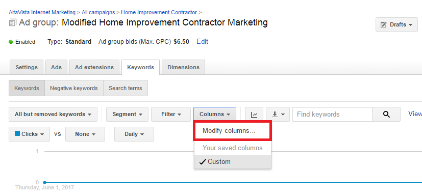 Adding view through conversion to custom columns in Google AdWords