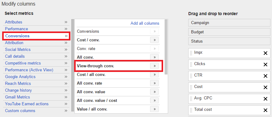 Adding view through conversions in Google AdWords to custom columns step 2