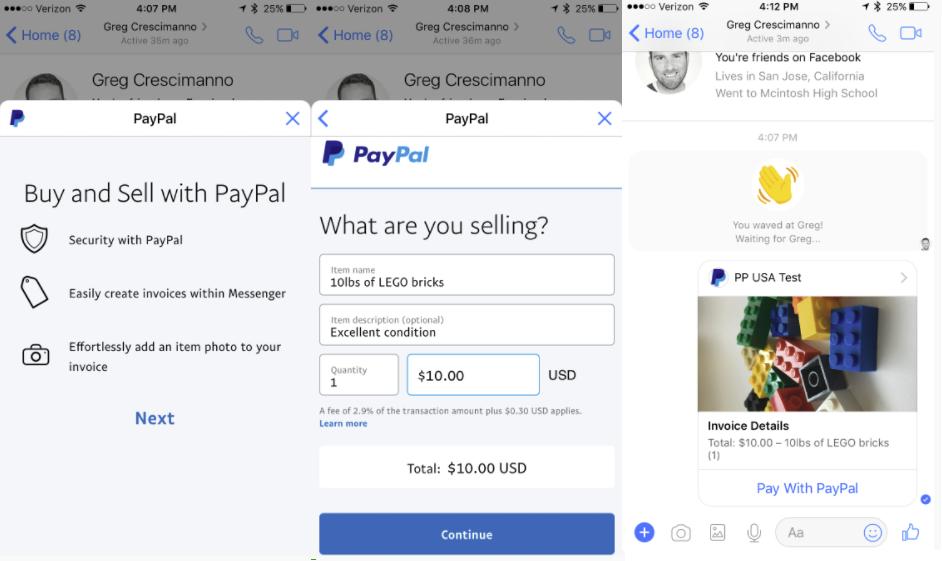 Facebook Messneger Pay Pal Invoicing | AltaVista Strategic