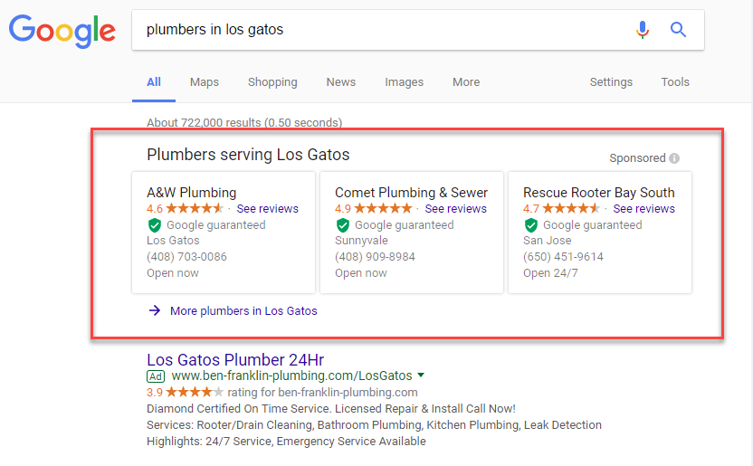 Google Local Services Ad Example For Roofers