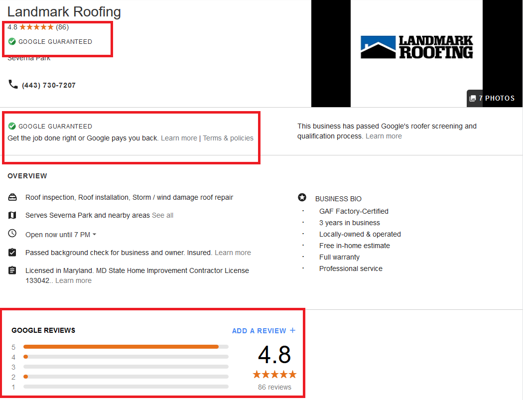 Google Local Services Ads Profile Example For Roofing Contractor
